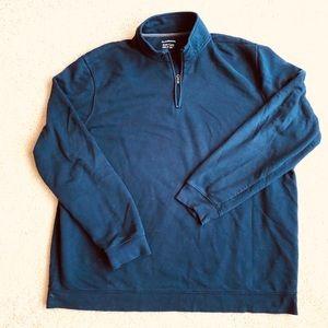 Navy Zip Neck Sweat Shirt